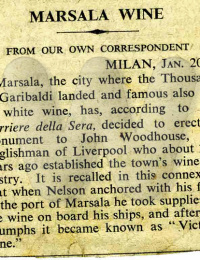 WOODHOUSE Marsala newspaper article no date